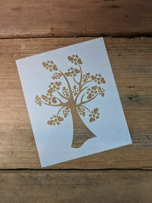 Rustic love tree and border,hearts shabby chic stencil 190 micron mylar A3 A4