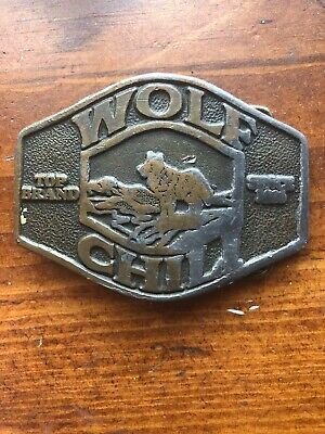 Vintage 1976 Wolf Brand Chili Belt Buckle Brass Tone Corsicana TX Advertisement
