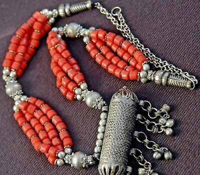 Coral necklace, tribal necklace, Yemeni silver necklace, Long coral necklace Y18