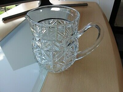Vintage Large Heavy Cut Glass Patterned Jug