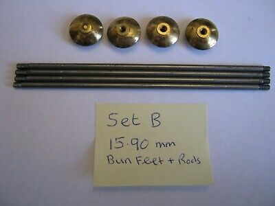 Replacement Brass Bun Feet - Ideal for Projects, Carriage Clock, Cases etc SET B
