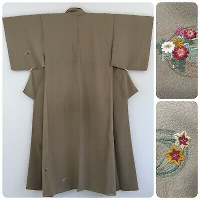 Japanese women's kimono, sage green, silk, embroidered flowers, medium (AA2481)