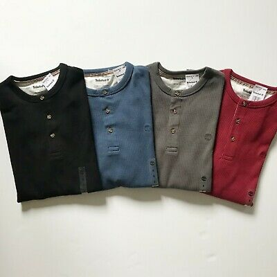 NWT Timberland Men's Long Sleeve Tee Waffle Henley Shirt A1MOG 4 Colors All Size
