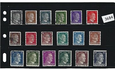 Adolph Hitler / Complete 18 stamp set / 1941 Third Reich issues / Nazi Germany