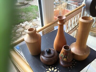group of wooden treen bud vases / treen /candle holder
