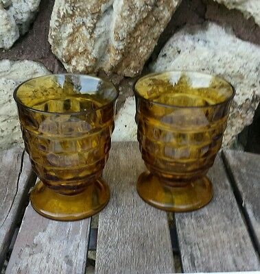 Set of 2 INDIANA Whitehall AMBER Glass Wine Water Cube / Cubist Footed Glasses