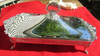 Baroque Pattern Large Footed Covered Casserole w/ Liner By Wallace Silver Plate