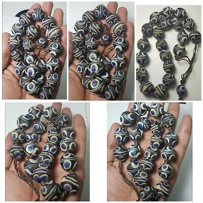 Very old mosaic eye glass beads lot very lovely  21 beads lot string