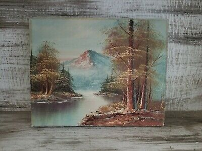 Pretty Vintage Oil Painting River Mountain Forest Scene 8x10 Mounted Canvas