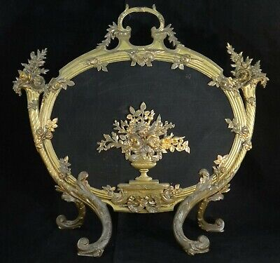"Antique French Louis XV Gilt & bronze painted oval Fire Screen. 28"" t, 30"" w."