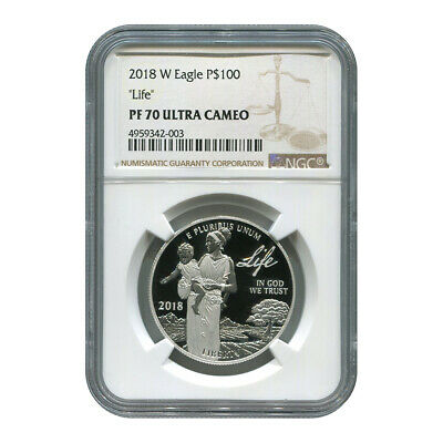 """Certified Platinum American Eagle Proof 2018-W """"Life"""" One Ounce PF70 NGC"""