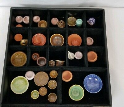 Large Collection Of 37 Signed Miniature Studio Art Pottery Pieces