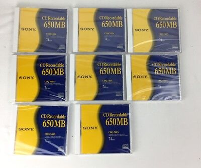 Sony ~CD Recordable, Set of 8, 650MB / 74min, Brand New Factory Sealed CDQ-74BN