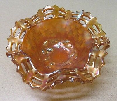 Fenton Marigold Blackberry Basketweave Bowl with Open Motif Edge