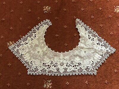 Vintage Lace Collar Antique Edwardian Schiffli Tambour Embroidered White Bridal