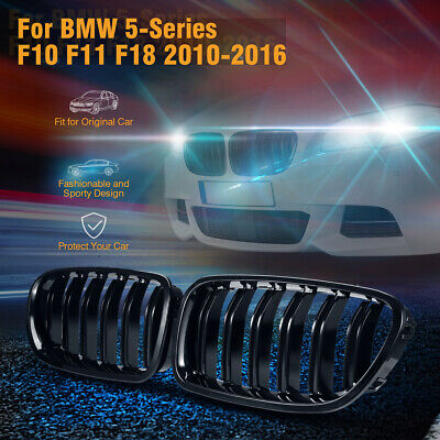 2x Front Kidney Twin Fins Gloss Black Grilles Grill For F10/11 5Series 10-16