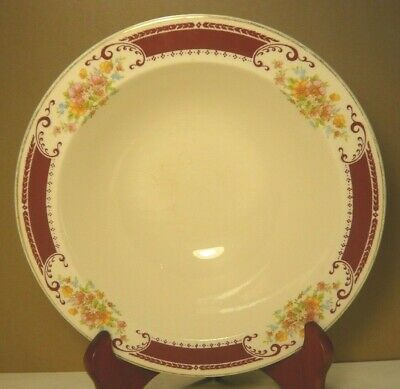 Antique Homer Laughlin Brand Large Majestic Pattern Mauve Floral Serving Bowl