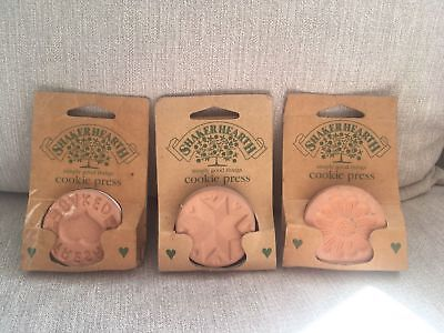 Set Of 3 Shaker Hearth Cookie Press Set Unused Clay Job Lot Flower Star Heart