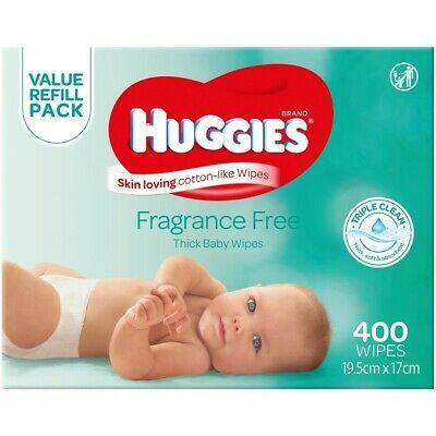 Huggies Thick & Soft Baby Wipes Mega Pack Fragrance Free 400 pack