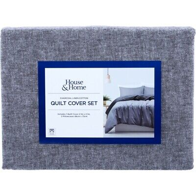 House & Home Quilt Cover Set - Charcoal