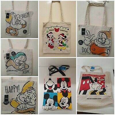 fc48cae82bb26 Disney Sac Réutilisable Nain   Mickey   Minnie Toile Sac Shopping  Doc-Bushfull
