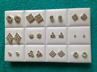 JOB LOT-12 pairs of different styles crystal diamante studs.Silver plated.