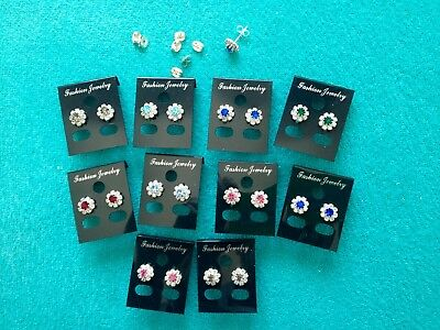 JOBLOT-10 pairs of colour/crystal diamante ROSETTE STUDS.Silver plated.UK made