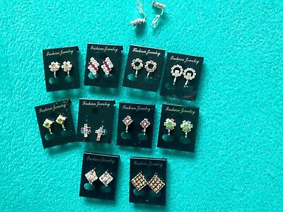 JOBLOT-10 different styles CLIP ON crystal/colour diamante earrings.Silver plate