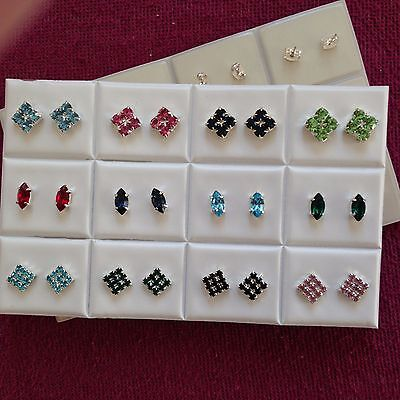 JOBLOT-12 pairs of 3 styles coloured rhinestone diamante stud earrings.UK made.
