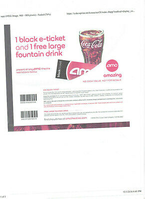 5 AMC Movie Tickets, 5 Fountain Drinks black /white copy mail only