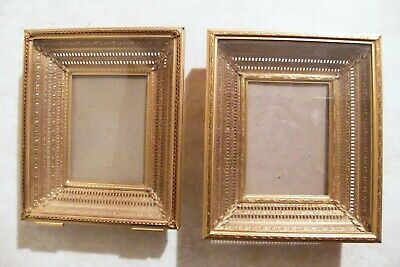 LOT of 2 VINTAGE Shadow Box Picture Wall Frames ORNATE BRASS METAL Detail
