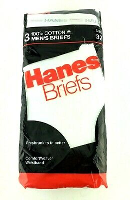 Vintage 1987 Hanes Men's White Cotton Briefs Underwear 3 pack Size 32 New USA