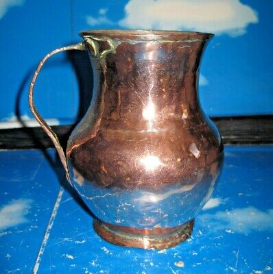 Antique Copper Tin Lined Pitcher or Beer Ale Cup
