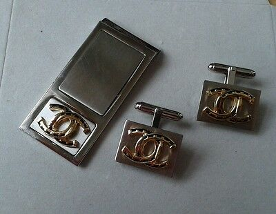 FREE ENGRAVING (PERSONALIZED) Horseshoe / Luck / Coach Money Clip Cuff Link Set