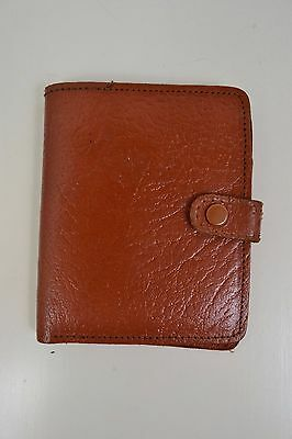 VINTAGE 1960s ENGLISH MADE TAN BROWN BIFOLD LEATHER WALLET WITH CLASP