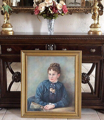 Antique Oil Painting Portrait Victorian Woman in a Blue Dress Signed Framed 1942