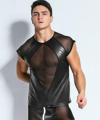 Sexy Tops Gay Patent Leather Mesh Men Sheer Herren Glanz T-shirt Clubwear SH31