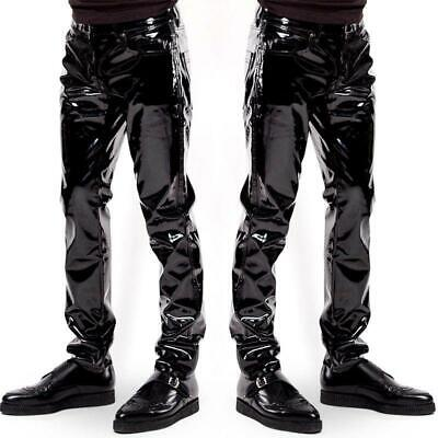 Sexy Men's patent leather trousers Herren Hose GAY wetlook Pants Spandex SH1