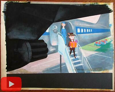 Airlines 1960's airplanes stewardess childhood original animation art style A+