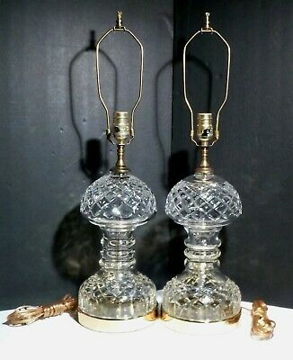 """Rare *VINTAGE* Waterford Crystal 2 THREE RING HOUR GLASS Electric Lamps 26 1/4"""""""