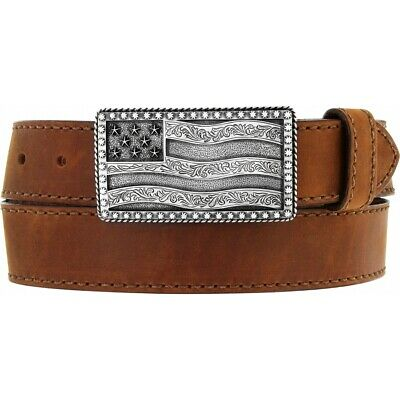 Justin Men's Brown Flying High Leather Belt with Flag Buckle C12685