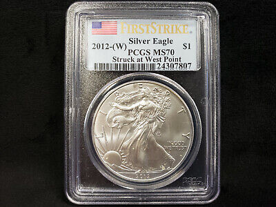2012-W PCGS MS70 Silver Eagle FIRST STRIKE **West Point, Perfect Specimen!**7807