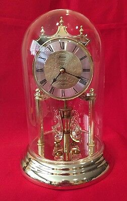 Loricron Quartz Mantle Clock With Glass Dome And Rotating Swans, Nice