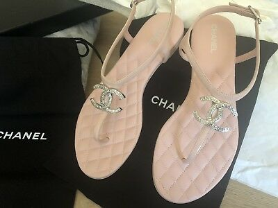 aff304457f06 Chanel 39 Pink Quilted Lambskin Leather Silver CC Thong Sandals Flats Shoes  9.5