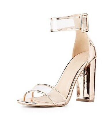 e81732706f6 CHARLOTTE RUSSE CLEAR Two-Piece Dress Sandals Size 7 Rose Gold NIB ...