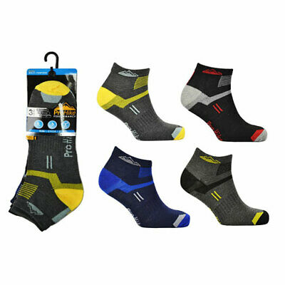 Mens Prohike Cotton Rich Trainer Ankle Socks Stripe Assorted 3/6/12 Pack PH2482