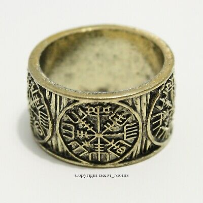 Viking Ring Vegvisir Rune Compass Norse Nordic Celtic Round Ring Bronze