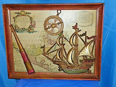 North America Map By Sanson 1650'S Ship Compass Telescope In 3D Form-Framed