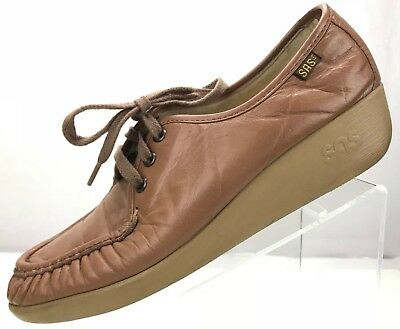 526117d5259 SAS Bounce - Hand Sewn Moccasin Comfort Wedge Leather Loafers USA Womens  10S Tan