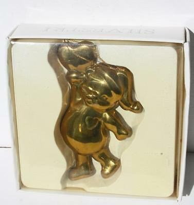 Teddy Bear with Heart Christmas Ornament 1984 Silvestri Cookie Cutter Mild Gold